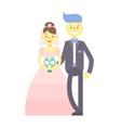 Wedding couple flat characters groom and bride