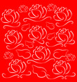white lines roses on red background vector image vector image