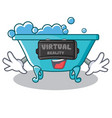 with virtual reality bathtub character cartoon vector image vector image