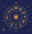 zodiac wheel on starry sky sun moon and stars vector image vector image