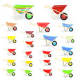 lovely collection of colorful wheelbarrows carts vector image