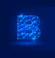 abstract glowing letter b on dark blue background vector image vector image