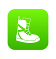 boot for snowboarding icon digital green vector image vector image