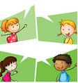 Boys and girls with happy face vector image vector image
