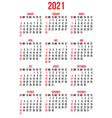 calendar grid for 2021 year for business vector image