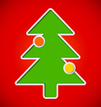 Card with cut out christmas tree with baubles vector image vector image