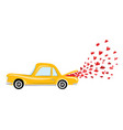 cartoon car with departing hearts from trunk vector image