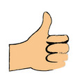 cartoon man hand like gesture thumb up vector image
