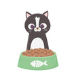 cat sitting with bowl food cartoon vector image