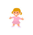 child a little girl is standing in a pink dress vector image vector image