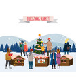 christmas fair market on town anthropomorphic set vector image vector image