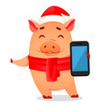 christmas greeting card cute pig vector image vector image