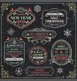 christmas set - emblems decorative elements vector image