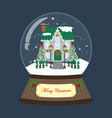 christmas snow globe with decorated house vector image vector image
