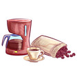 coffee beans cup and kettle coffee-house vector image