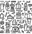 coffee seamless pattern with various doodle linear vector image