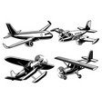 collection of modern airplane vector image vector image