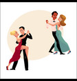 Couples of professional ballroom dancers dancing