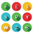 Currency flat icon set vector image
