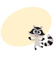 cute happy raccoon character raising paws in vector image vector image
