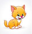 cute smiling cartoon kitten cat stitting vector image vector image