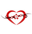 Decorative happy heart and flower vector image
