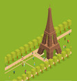 eiffel tower famous landmark of paris isometric vector image