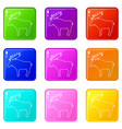 elk icons set 9 color collection vector image vector image