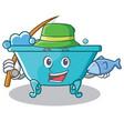 fishing bathtub character cartoon style vector image