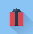 Flat gift box icon with bow vector image vector image