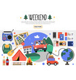 flat weekend elements set vector image vector image