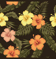 flowers hibiscus tropical green banana leaves vector image vector image