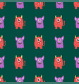 funny cartoon monster seamless pattern alien vector image vector image
