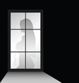 Girl figure with window vector image