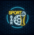 glowing neon sport bar sign on dark brick wall vector image vector image