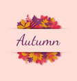 greeting card with autumn leaves in paper art vector image vector image