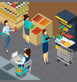 grocery store isometric background vector image vector image
