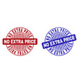 grunge no extra price textured round stamps vector image vector image