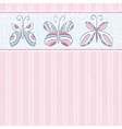 hand draw butterflies on pink striped background vector image