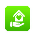 hand house icon green vector image
