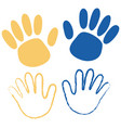 hands painted blue and yellow isolated on white vector image vector image