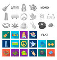 happy and attribute flat icons in set collection vector image