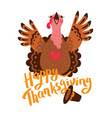 happy thanksgiving card with turkey cartoon vector image vector image