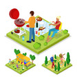 isometric outdoor activity family barbeque grill vector image vector image
