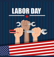 labor day hands with fists raised tools american vector image vector image