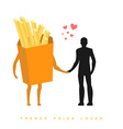 Lover french fries In love with food Man and vector image vector image