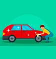 man wash red car concept background flat style
