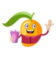 mango holding pink juice on white background vector image vector image