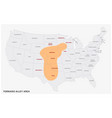 map tornado alley area in united states vector image