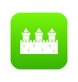 medieval wall and towers icon digital green vector image vector image